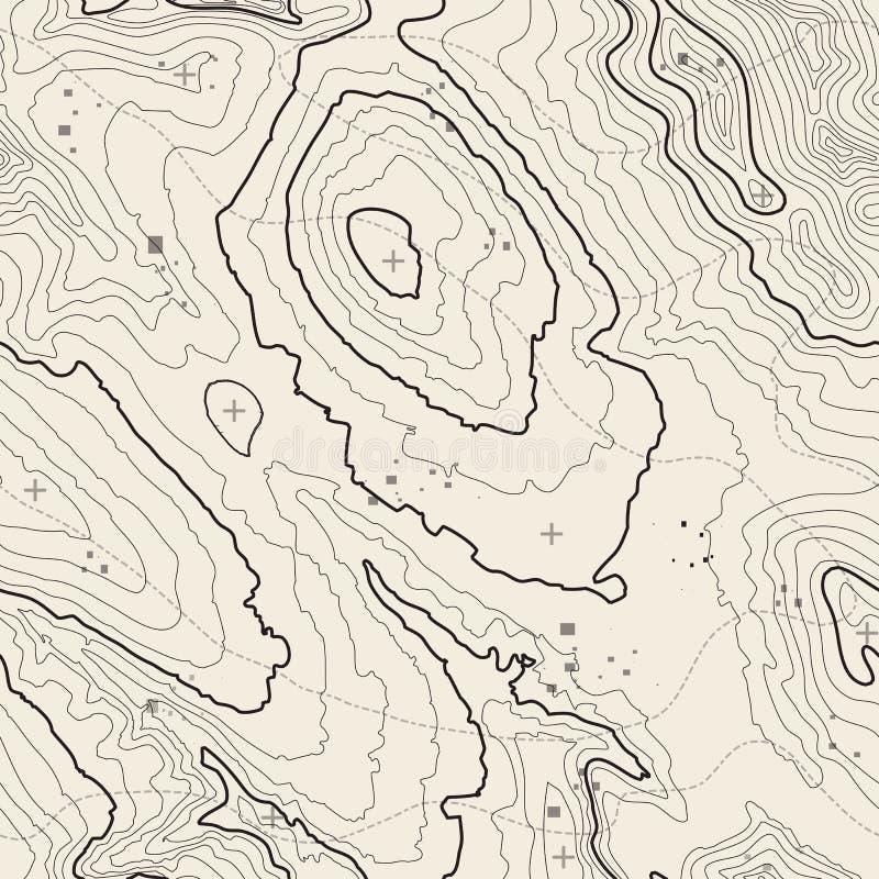 无缝的模式 与空间的地形图背景拷贝无缝的纹理的 线地势地图等高 库存例证