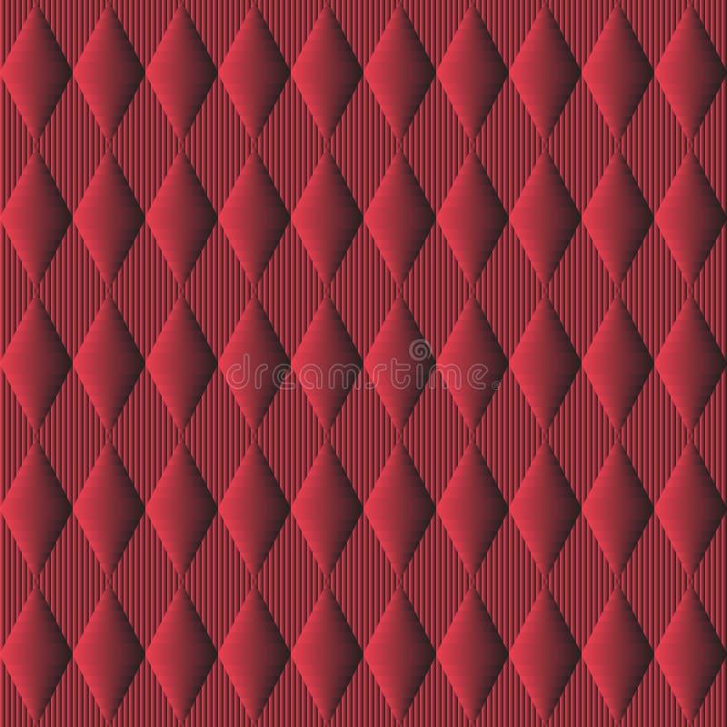 无缝的模式 与菱形和标尺的红色背景 向量例证