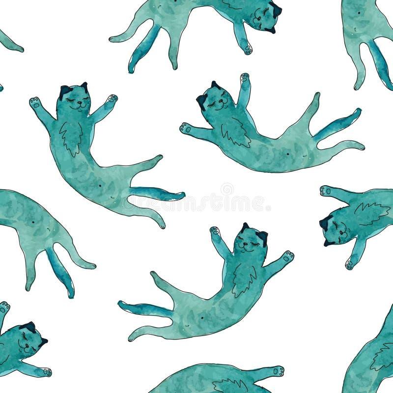 无缝的模式 与水彩纹理的滑稽的猫 向量例证