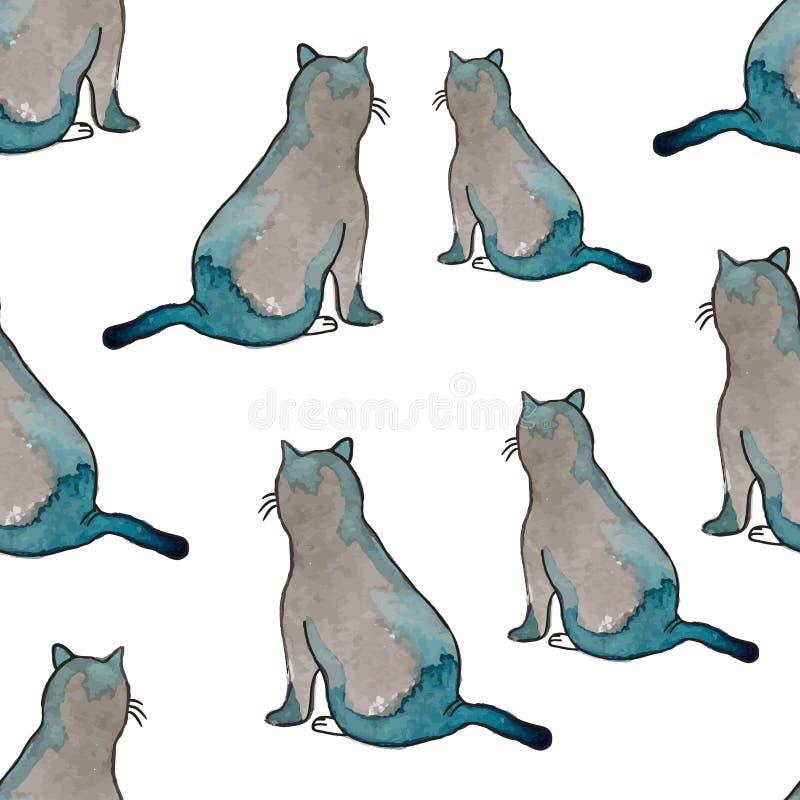 无缝的模式 与水彩纹理的滑稽的猫 库存例证