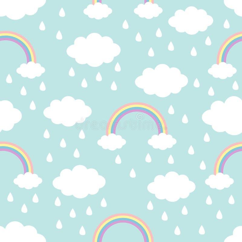 无缝的模式 云彩彩虹在天空的雨下落 逗人喜爱的动画片kawaii滑稽的婴孩孩子装饰 包装纸,纺织品模板 库存例证