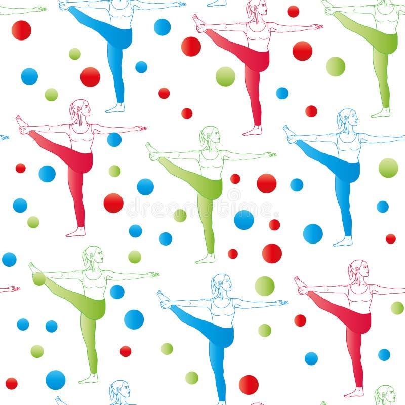无缝的模式 作为无缝的背景的瑜伽姿势 EPS, JPG 库存例证
