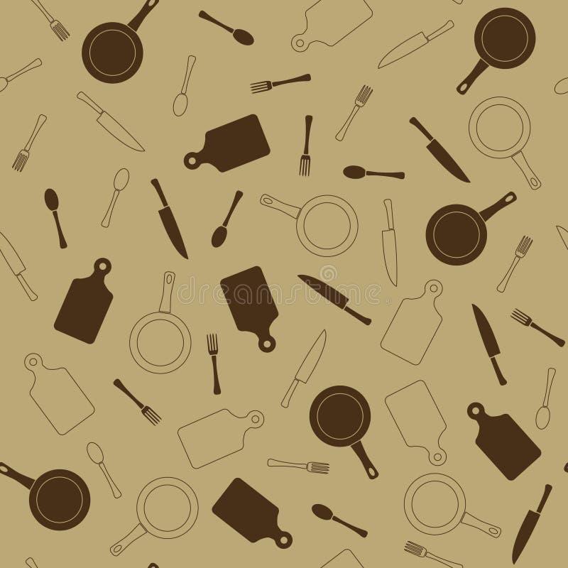 无缝的模式 厨房项目 在浅褐色的口气 平的样式 适用于咖啡馆餐馆的装饰 库存例证