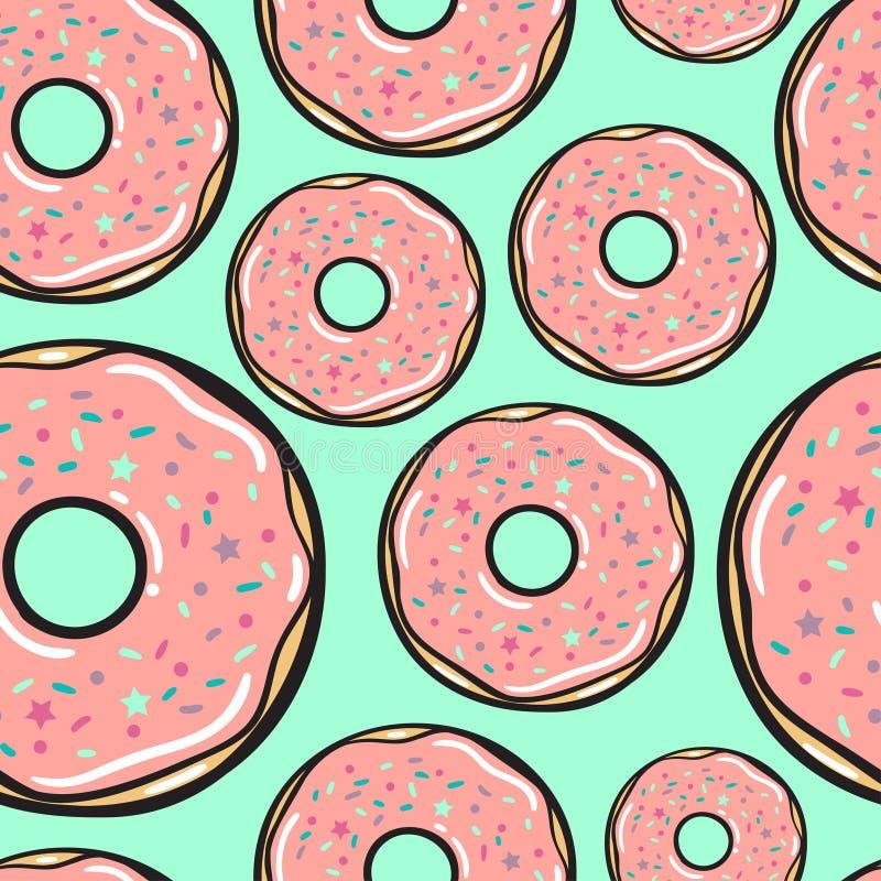无缝的模式 向量 精美莓油炸圈饼 皇族释放例证