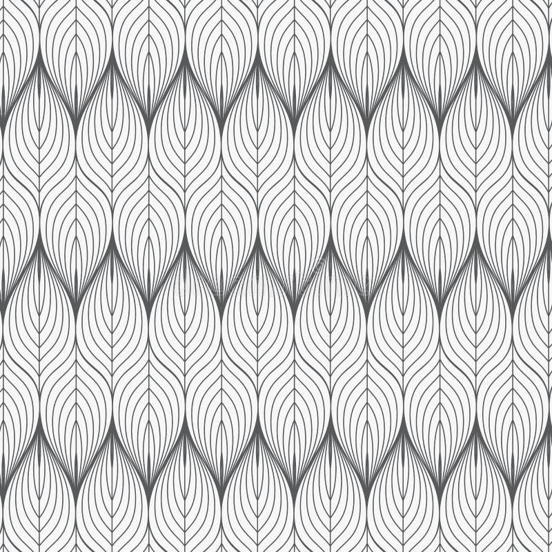 无缝的模式 图表装饰品 花卉时髦的背景 重复与风格化叶子的传染媒介纹理 向量例证