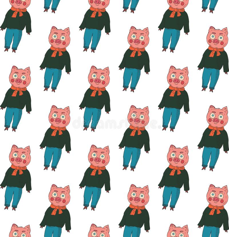 无缝的模式 在一件毛线衣、牛仔裤和一条围巾的猪在白色背景 皇族释放例证
