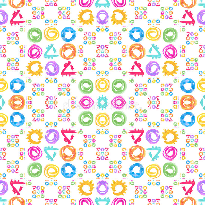 无缝的模式 在抽象样式的水彩几何形状 皇族释放例证