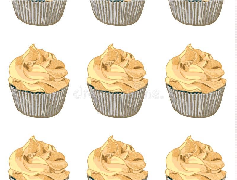 无缝的模式 在白色背景的手拉的杯形蛋糕 奶油色桔子 向量 向量例证