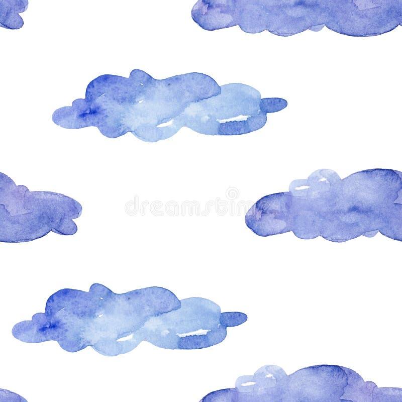 无缝的模式 在白色背景的水彩蓝色云彩 向量例证