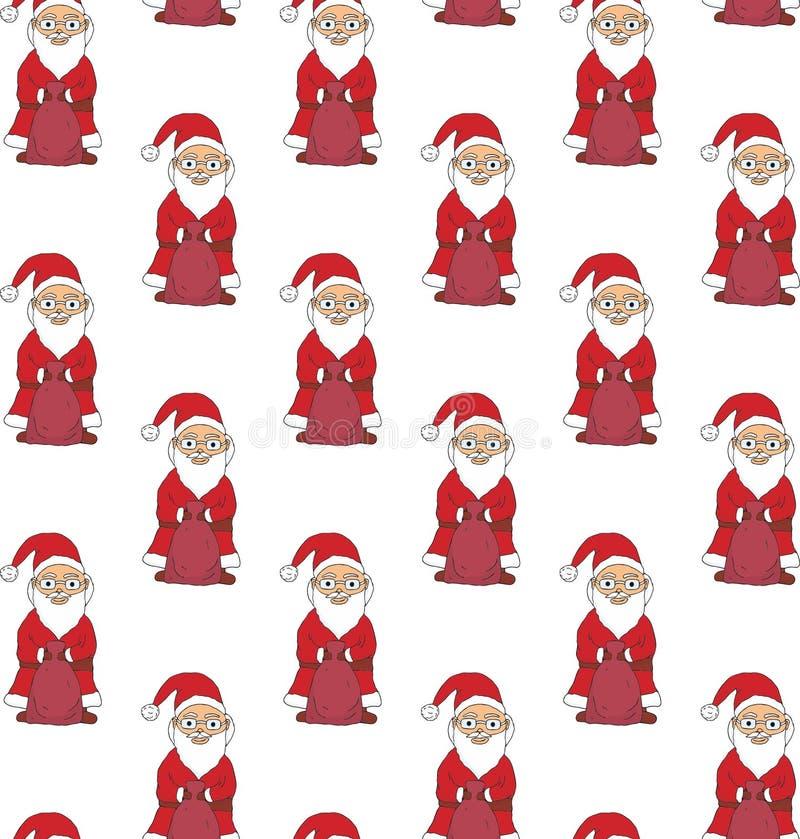 无缝的模式 拿着与礼物的圣诞老人一个袋子 向量 向量例证