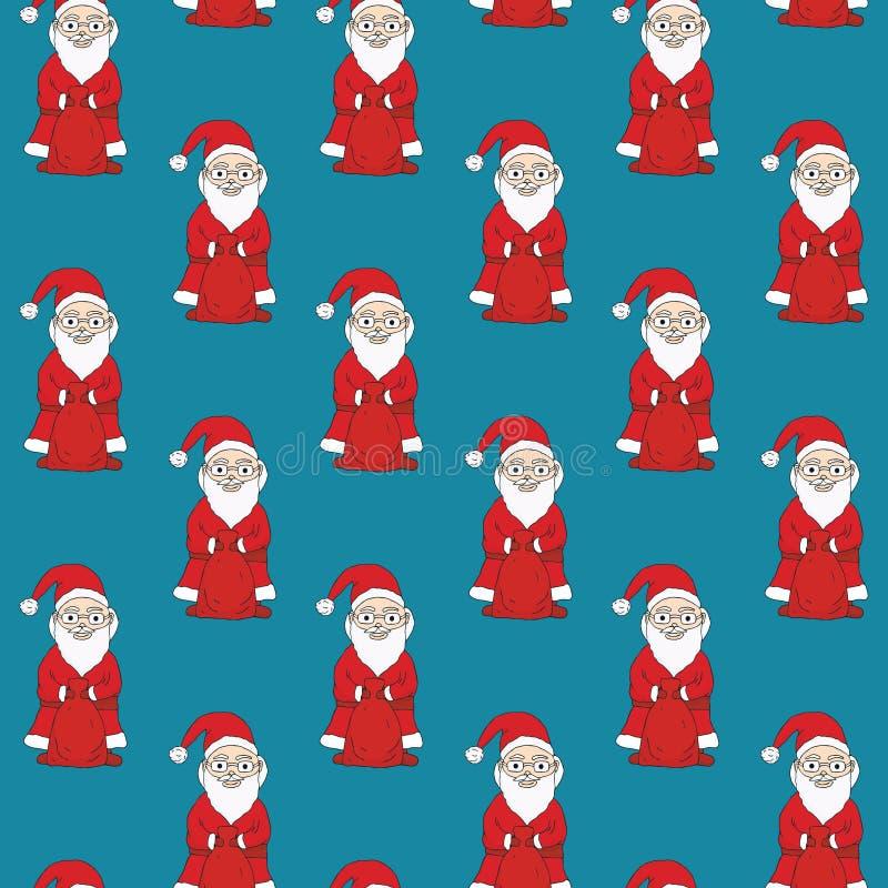 无缝的模式 拿着与礼物的圣诞老人一个袋子 黑暗的绿松石背景 库存例证