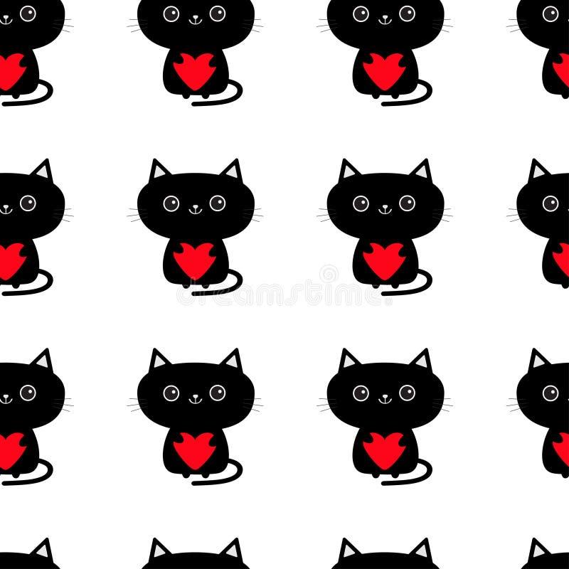 无缝的模式 拿着红色心脏的逗人喜爱的恶意嘘声 滑稽的动画片动物字符 全部赌注小猫 小宠物汇集 包裹pa 皇族释放例证