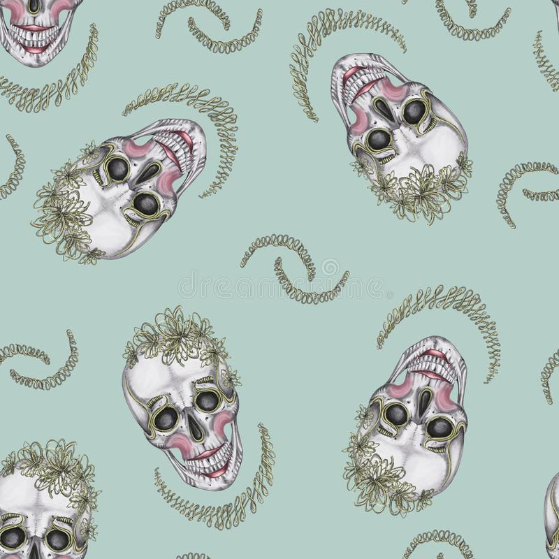 无缝的模式 有构成和绿色刺绣的头骨 向量例证