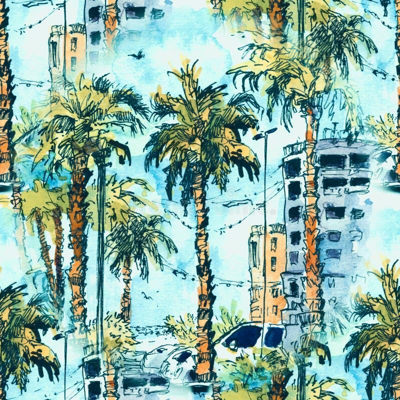 无缝的模式 有迈阿密市街道和大厦的街市在佛罗里达,美国 与手拉的水彩飞溅 皇族释放例证
