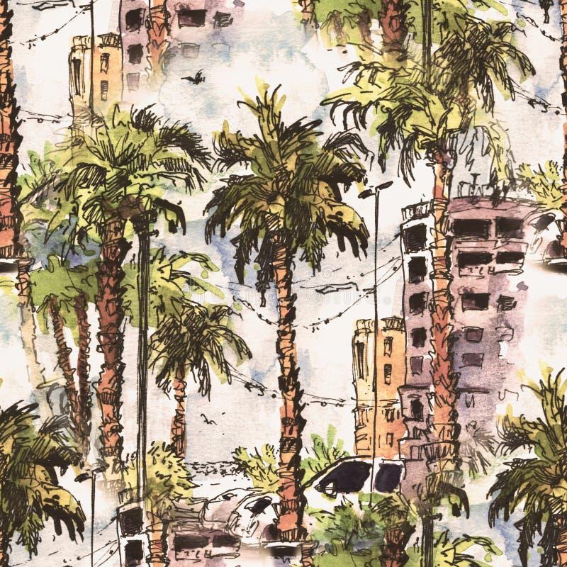无缝的模式 有迈阿密市街道和大厦的街市在佛罗里达,美国 与手拉的水彩飞溅 向量例证