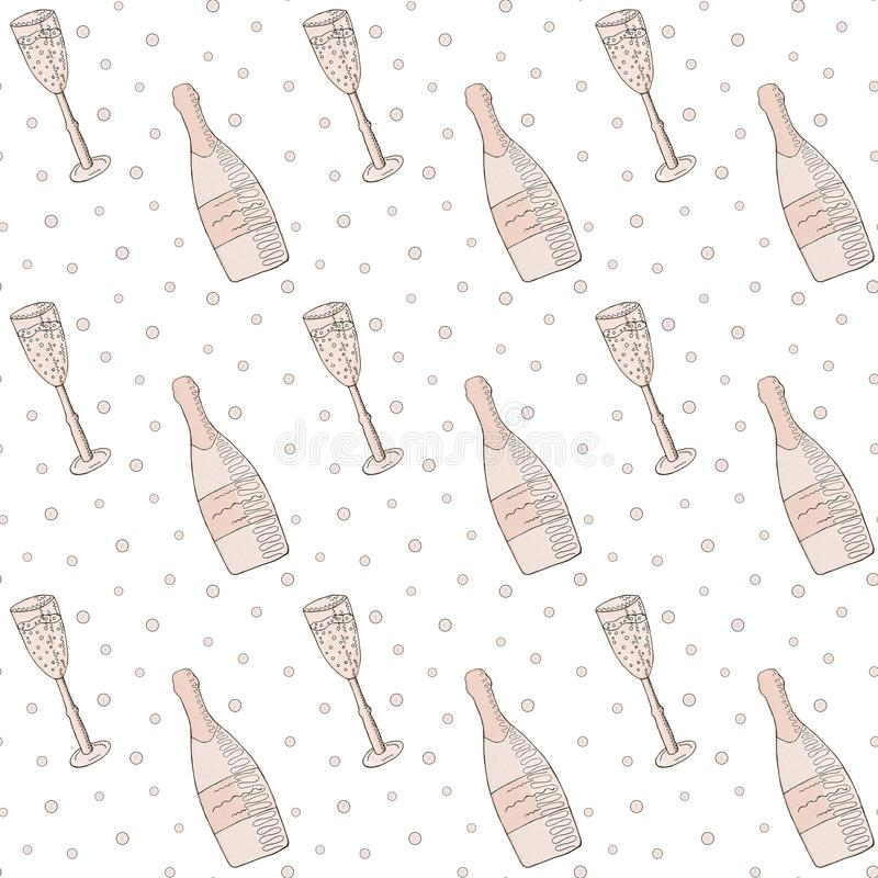 无缝的模式 桃红色香槟、香槟玻璃和泡影在白色背景 库存例证