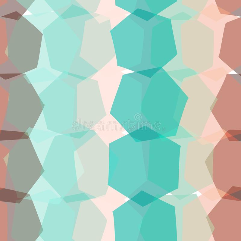 无缝的模式 棕色橙色桃红色蓝色米黄印刷品, Geo种族行家背景现代时髦几何抽象背景为 库存例证