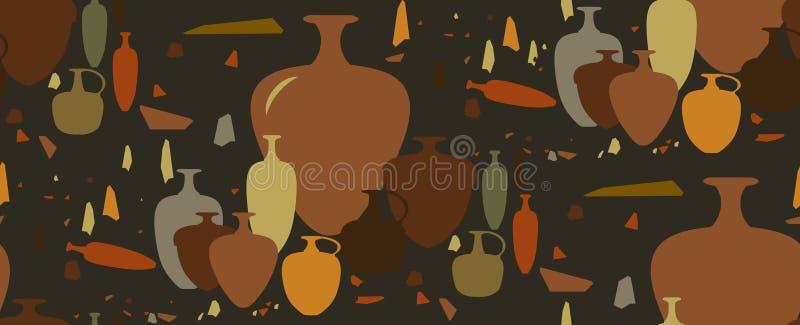 无缝的模式 油罐和陶瓷船 库存照片