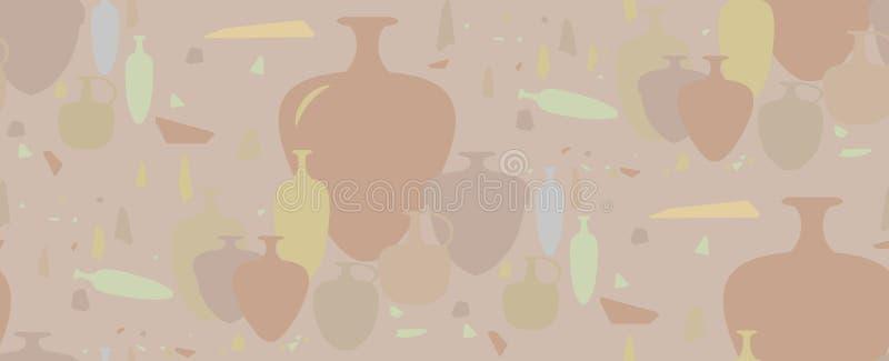 无缝的模式 油罐和陶瓷船 免版税库存图片