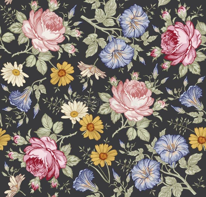 无缝的模式 现实被隔绝的花 背景几何老装饰品纸张葡萄酒 春黄菊罗斯得出板刻传染媒介的喇叭花野花 库存照片