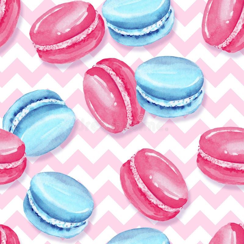 无缝的模式 甜食物 蛋白杏仁饼干 皇族释放例证