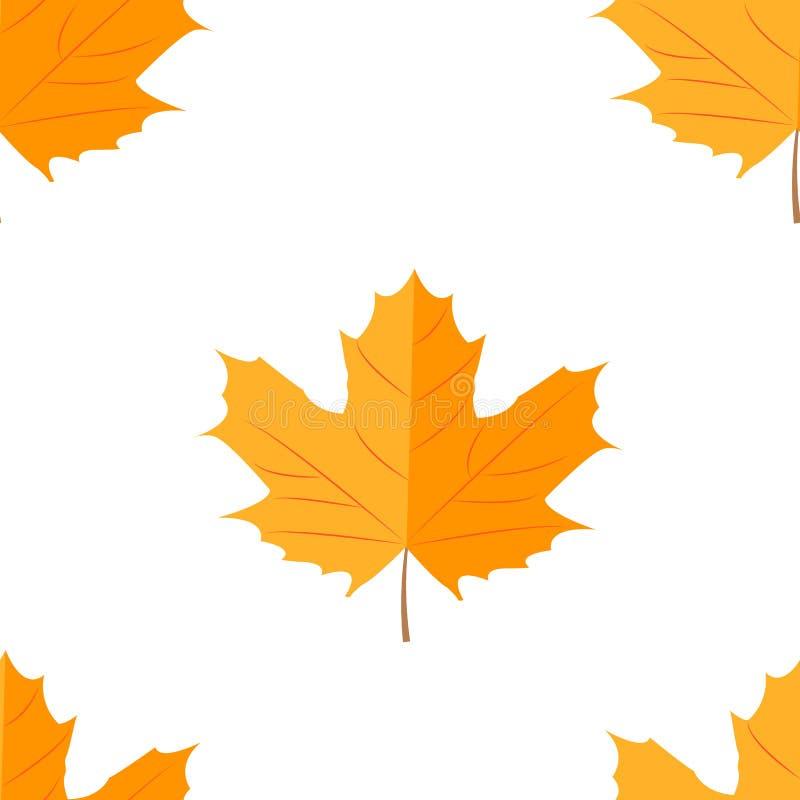 无缝的模式 秋天黄色叶子 向量例证