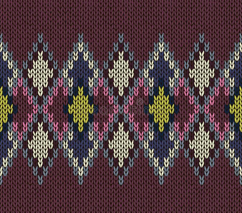无缝的模式 背景织品编织多色模式无缝的纹理向量 皇族释放例证