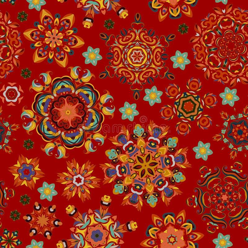 无缝的模式 装饰要素葡萄酒 背景被画的现有量 回教,阿拉伯语,印地安人,无背长椅主题 完善为 皇族释放例证