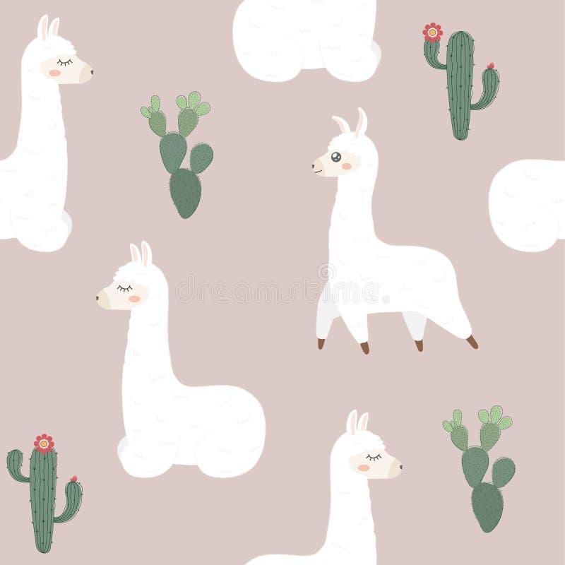 无缝的模式 逗人喜爱的骆马和仙人掌 皇族释放例证