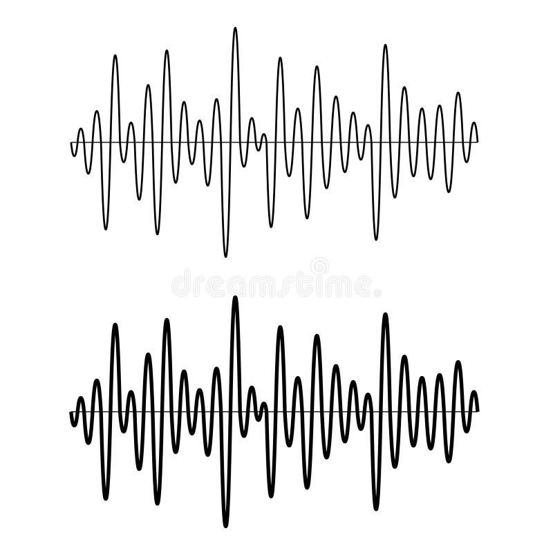 黑无缝的正弦声波线 库存例证