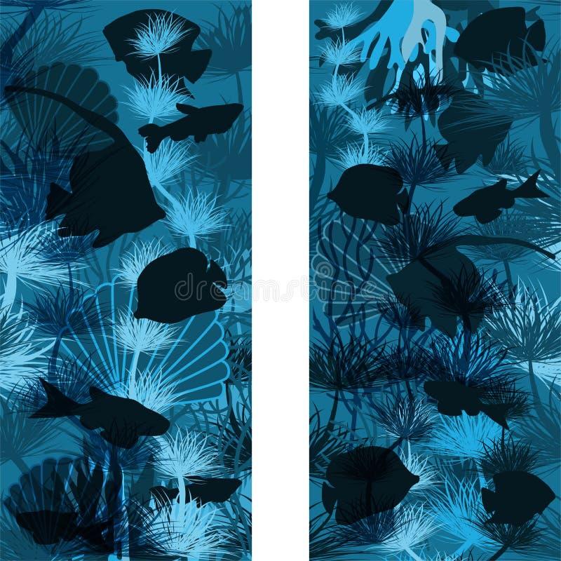 无缝的水下的热带横幅,传染媒介 库存例证