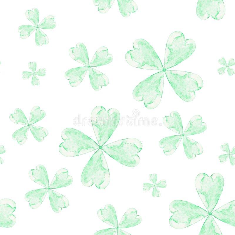 无缝的水彩三叶草圣帕特里克` s样式 库存照片