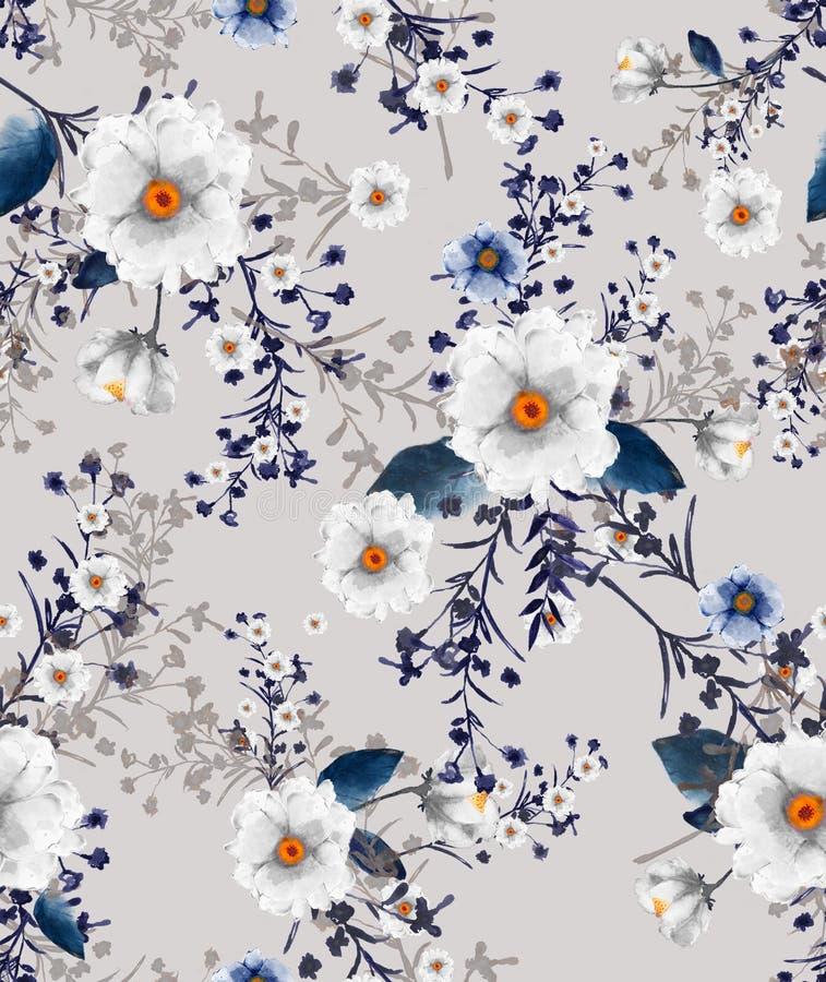 无缝的水彩例证狂放的开花的花卉样式, 向量例证