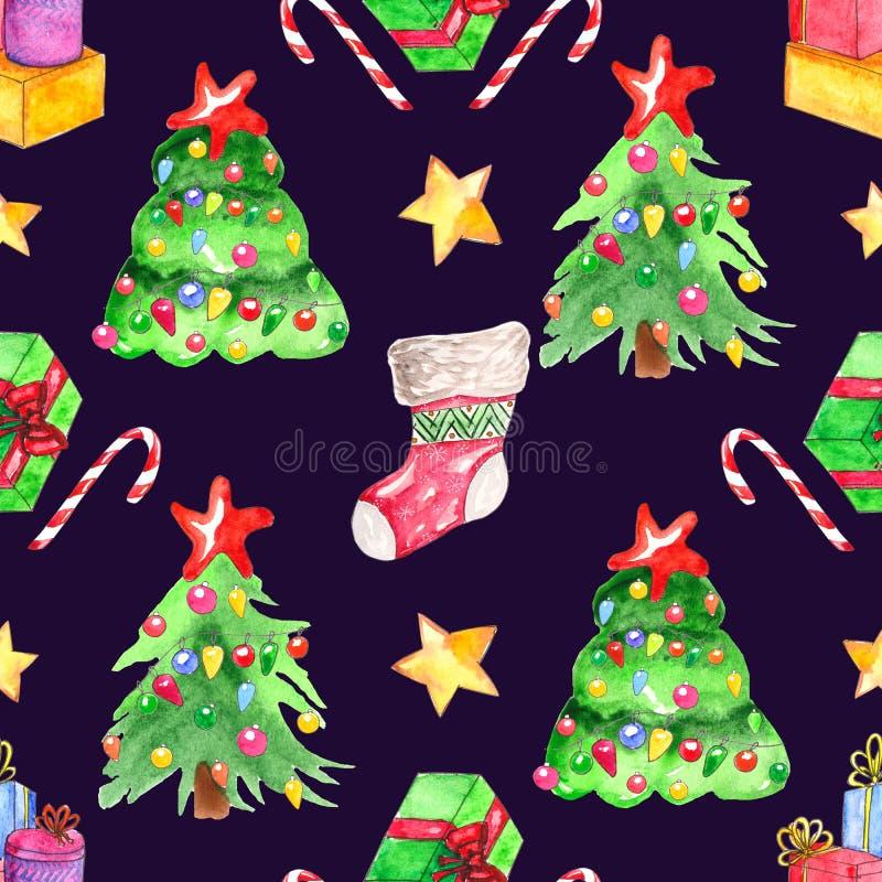 无缝的水彩样式 背景圣诞节要素查出白色 库存例证