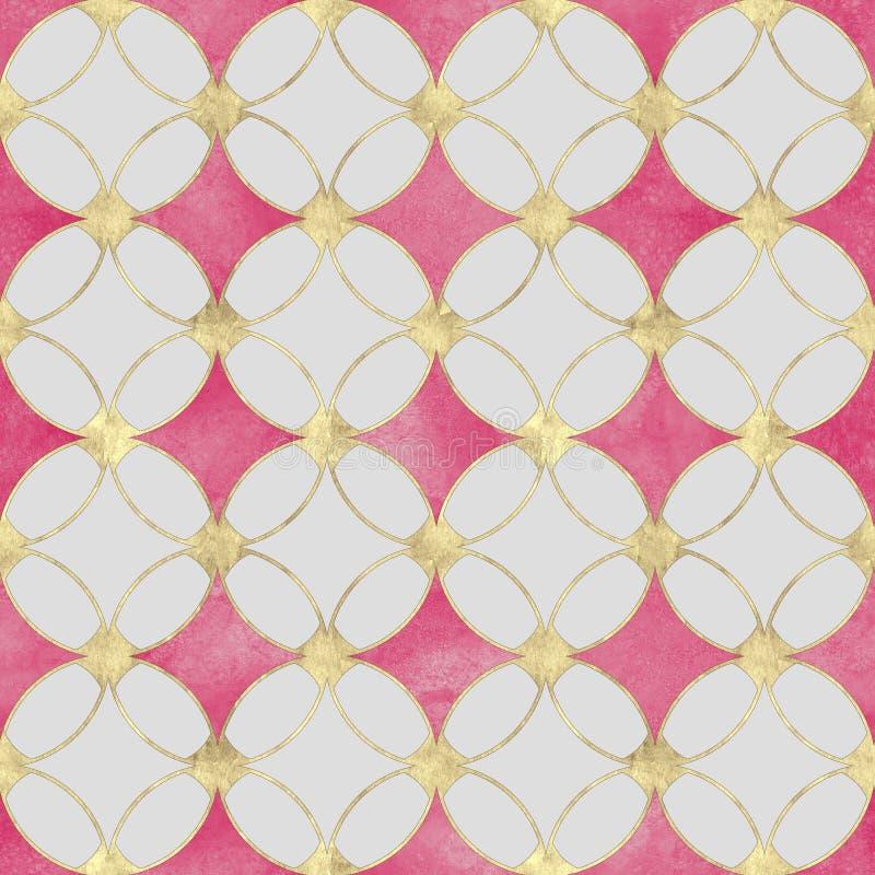 无缝的水彩桃红色金子闪烁摘要豪华纹理 库存例证