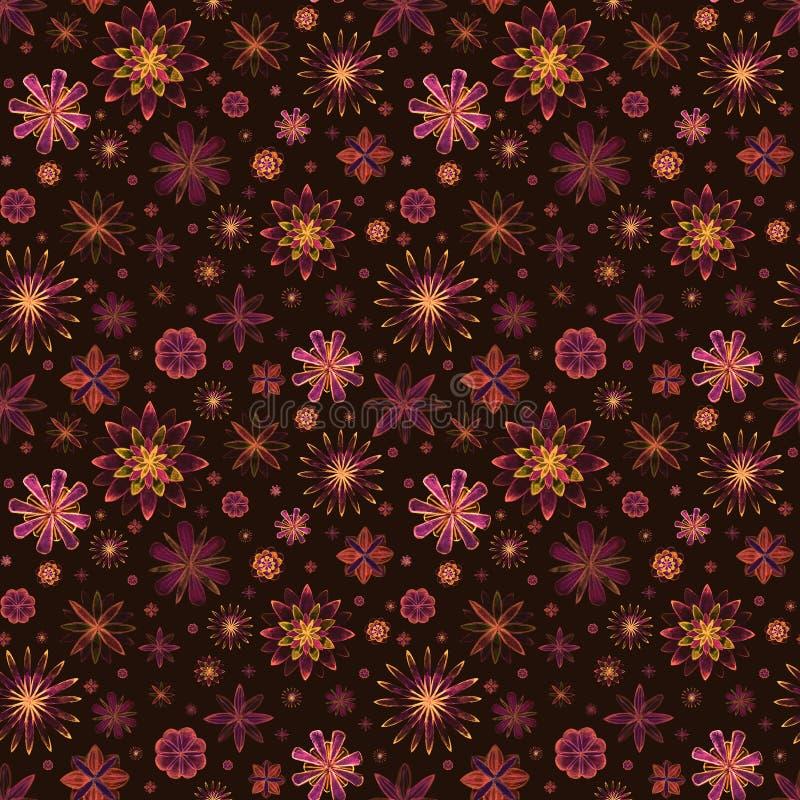 无缝的水彩浪漫坛场摘要开花在棕色背景的五颜六色的花卉样式 明亮的水彩例证 皇族释放例证