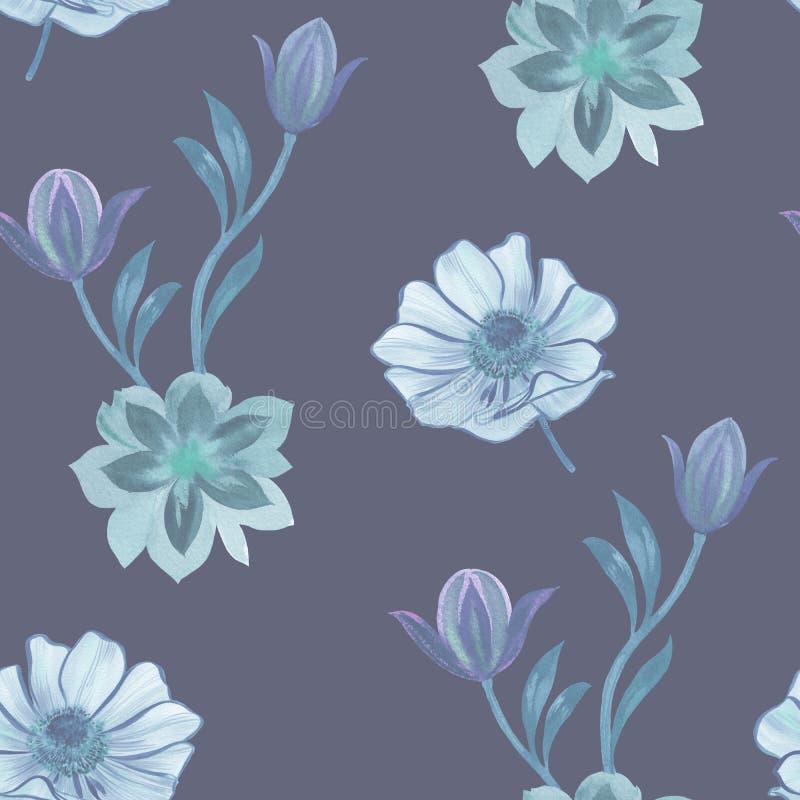 无缝的水彩花纹花样 在白色背景的手画花 设计的花 装饰品花 无缝的bo 皇族释放例证