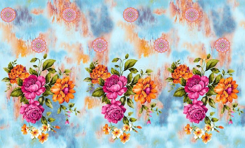无缝的水彩花边界 向量例证