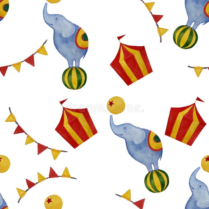 无缝的水彩马戏样式:大象,旗子,球 向量例证