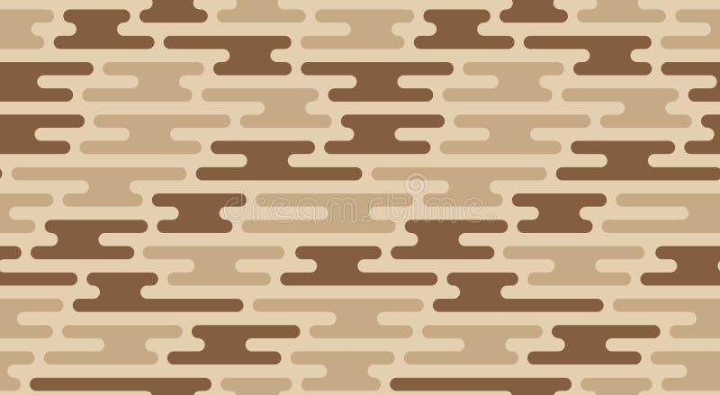 无缝的沙子伪装样式 传染媒介几何camo纹理 库存例证