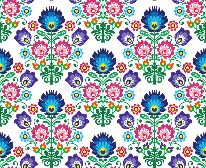 无缝的波兰语,斯拉夫的民间艺术花卉样式- wzory lowickie, wycinanka 向量例证