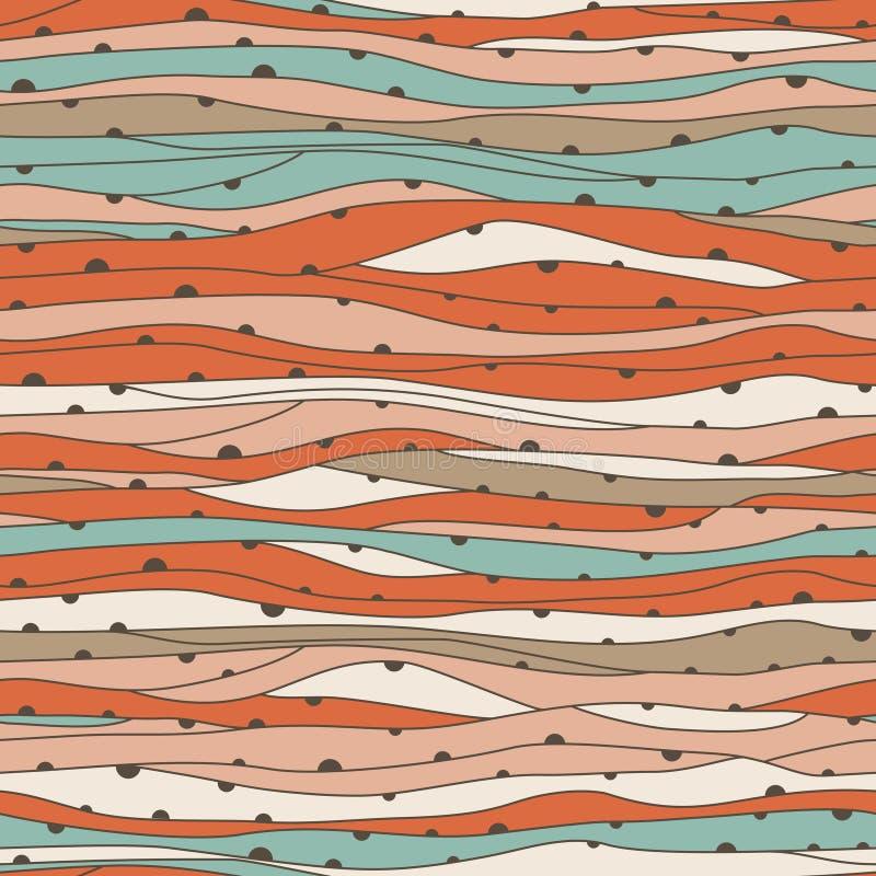 无缝的波浪手拉的样式,波浪背景(无缝t 向量例证