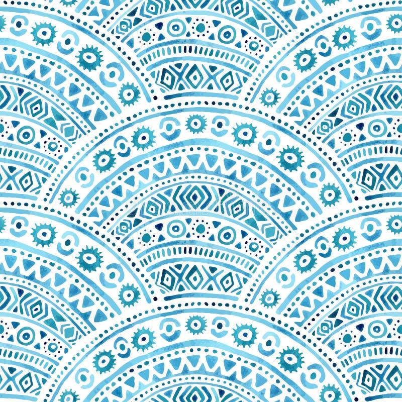 无缝的波浪水彩样式 几何装饰品手凹道 皇族释放例证