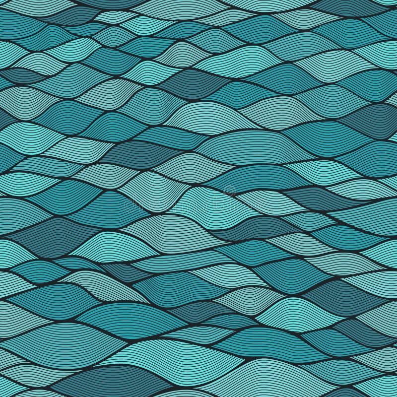 无缝的波浪纹理,波浪背景 复制那个正方形对s 库存例证
