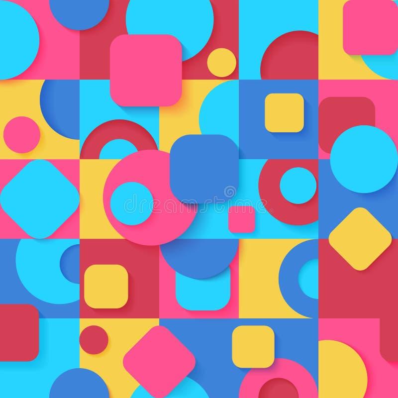 无缝的流行艺术五颜六色的抽象几何形状样式 明亮的颜色各种各样的瓦片装饰墙纸背景 向量例证