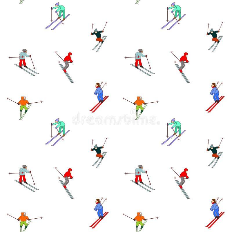 无缝的滑雪模式 皇族释放例证