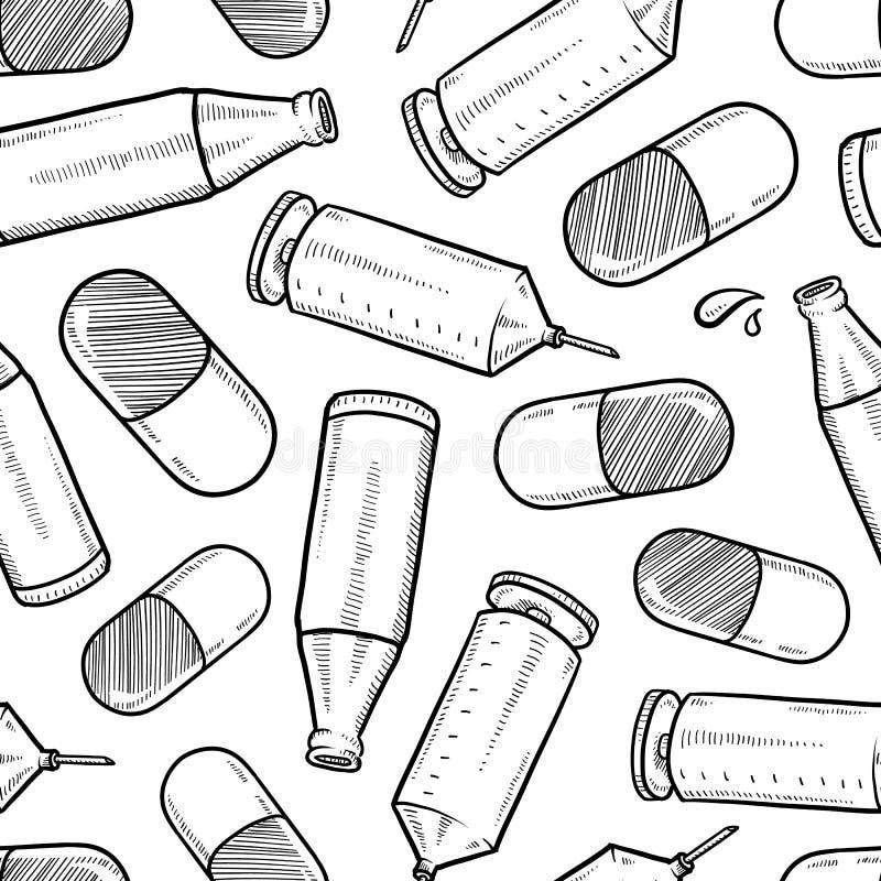无缝的滥用药物向量背景 库存例证