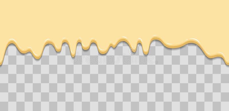 无缝的滴水 滴下的釉,奶油,冰淇凌,白色巧克力,香草 流动的下落下来 动画片例证为 向量例证
