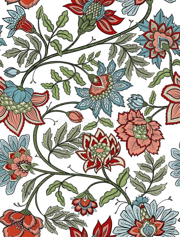 无缝的漂泊花卉佩兹利-红色和蓝色 向量例证