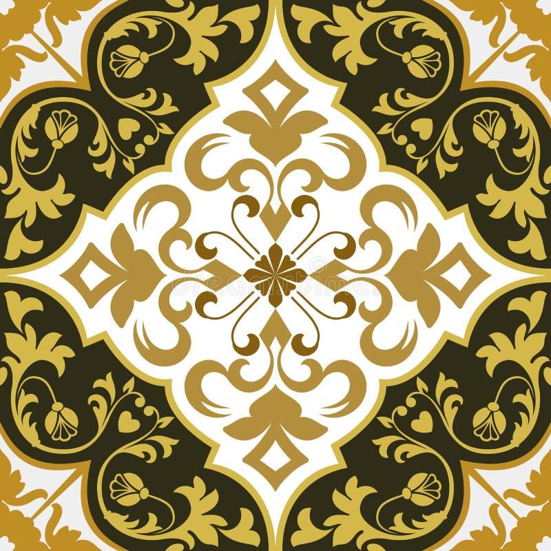 无缝的灰棕色,黄色和白色花卉墙纸 库存例证